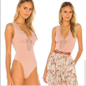 Free People First Call Bodysuit in Mauve Sz L